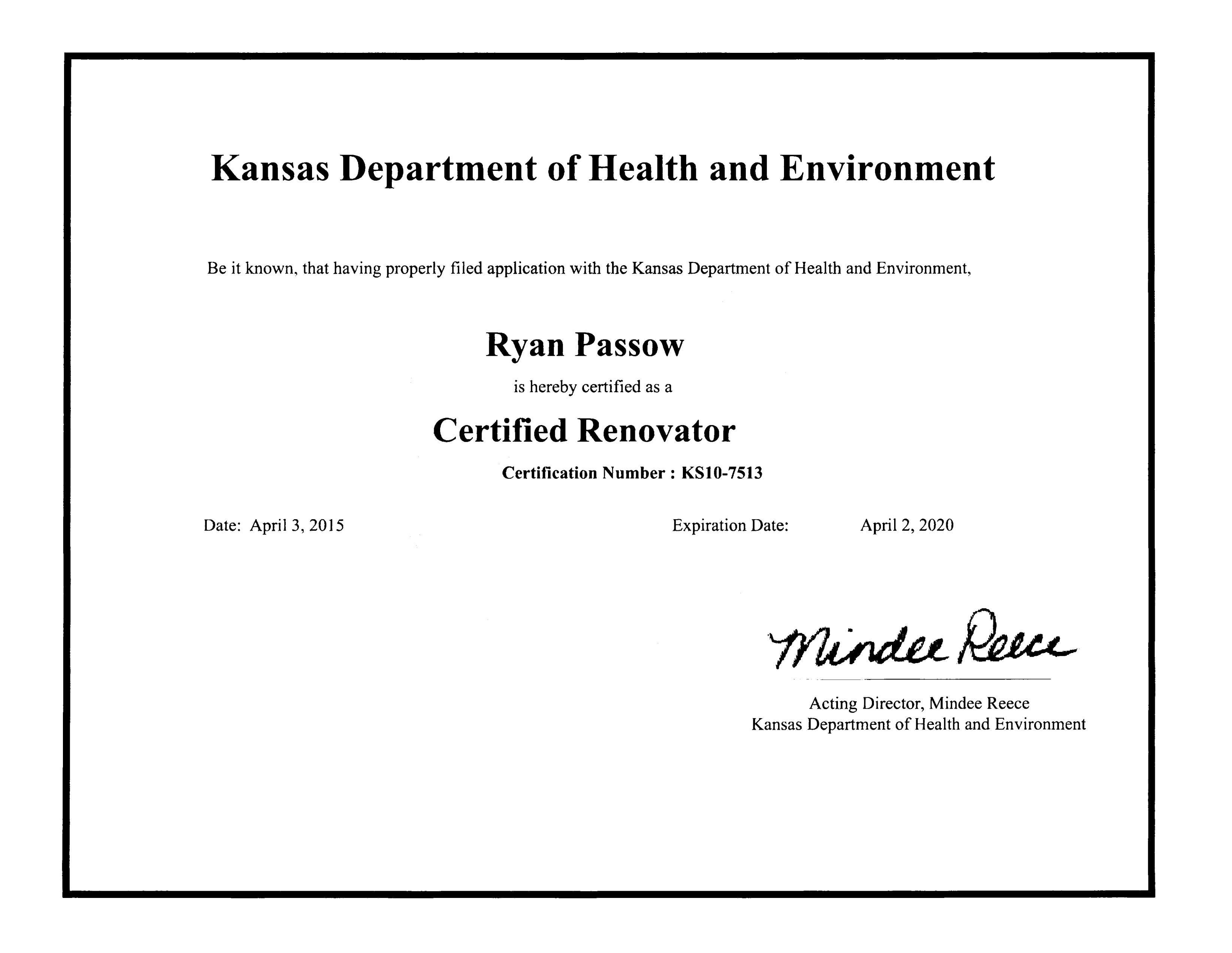 Ryan - KDHE Lead Safe Cert 2020